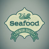 Mermaid seafood label Stock Photography