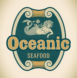 Mermaid seafood label Royalty Free Stock Photos