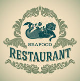 Mermaid seafood restautant label Royalty Free Stock Photo