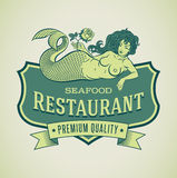 Mermaid seafood restautant label Stock Images