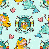 Mermaid and Seaman seamless pattern. Kawaii Maritime princess. Stock Images
