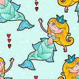 Mermaid seamless pattern. Kawaii Maritime princess. Stock Images