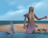 Mermaid and Seashells. A mermaid sits of a beach and admires the seashells and starfish she has collected Stock Images