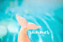 Mermaid sequin tail with turquois pool water in background Stock Photography