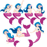 Mermaid Set. Mermaid in 7 different poses. No transparency and gradients used Stock Photos
