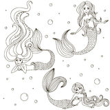 Mermaid Set . Vector isolated outline on white background. Drawn by hand.No transparency and gradients used Stock Photo