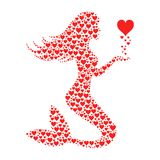 Mermaid with red hearts. Mermaid shape with red hearts texture stock illustration