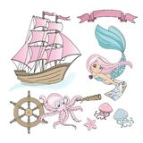 MERMAID SHIP Sea Travel Color Vector Illustration Set for Print vector illustration