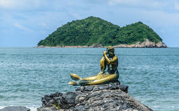 MERMAID IN THE SHORE OF SONGKLHLA. THIS LOCATED AT SONGKHLA THAILAND, THE CAPITAL. LANDMARK Royalty Free Stock Photography
