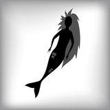 Mermaid Silhouette. Isolated on Grey Blurred Background Stock Photography