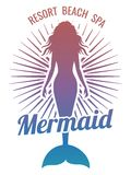 Mermaid silhouette stylized vector logo. Bright resort spa emblem design. Vector illustration Stock Images