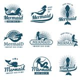 Mermaid silhouette stylized vector logos collection vector illustration