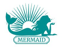 Mermaid silhouette and sun label design. Isolated on white. Vector illustration Stock Photography