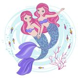 MERMAID SISTERS Cartoon Tropical Princess Vector Illustration Set