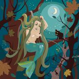 Mermaid sits on a tree branch. Beautiful mermaid sits on a tree branch and brushes long hair Royalty Free Stock Images