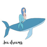 Mermaid sits on a whale  vector illustration Royalty Free Stock Images