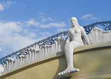 Mermaid sitting on the roof. City of Odessa, Ukraine Royalty Free Stock Photos