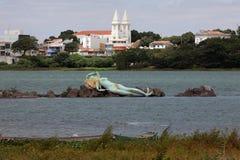 Mermaid and skyline of Petrolina and Juazeiro in Brazil. The mermaid and skyline of Petrolina and Juazeiro in Brazil Royalty Free Stock Photography