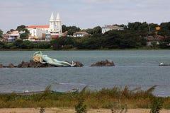Mermaid and skyline of Petrolina and Juazeiro in Brazil. The mermaid and skyline of Petrolina and Juazeiro in Brazil Royalty Free Stock Photo
