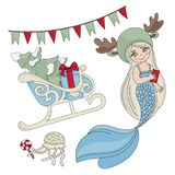 MERMAID SLEIGH New Year Color Vector Illustration Set royalty free illustration