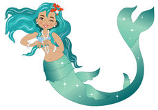 Mermaid. A smiling mermaid with pearls and corals on white background stock illustration