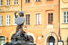 Mermaid statue in the city center of Warsaw, Poland. Europe stock photography