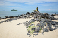 The mermaid statue. Famous view point on the Songkhla beach Stock Image