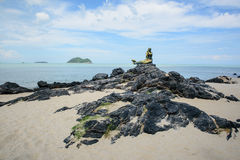 The mermaid statue. Famous view point on the Songkhla beach Stock Images