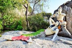 Mermaid statue. On the nearby beach. Prachuap Khiri Khan, Thailand royalty free stock image