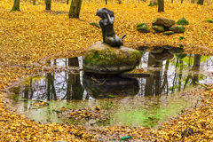 Mermaid Statue In The Park. In Autumn Season royalty free stock images
