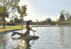 Mermaid Statue is in the pool at Sunthorn Phu Memorial Stock Image