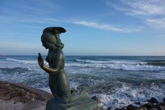 Mermaid statue at the seaside in Spain. Picture of Mermaid statue was taken at the seaside in Spain royalty free stock image