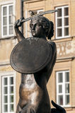 Mermaid statue in Warsaw. Stock Photos