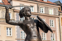 Mermaid statue in Warsaw. Royalty Free Stock Image