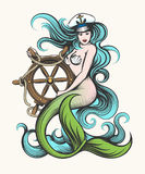 Mermaid with Steering Wheel. Beauty blue haired siren mermaid in captain hat holds steering wheel in her hands. Colorful Vector illustration in tattoo style Royalty Free Illustration