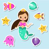 Mermaid stickers set. Fairy elements for scrapbook and kids design. Children kawaii style Stock Image