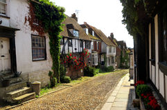 Mermaid Street, Rye, East Sussex, England. Quiet corner of small town Stock Photography