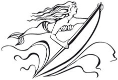 Mermaid with a surfboard. silhouette of woman. Royalty Free Stock Photography
