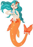 Mermaid. A sweet mermaid with pearls and coral on white background Stock Image