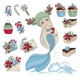 MERMAID SWEET SET New Year Color Vector Illustration royalty free illustration
