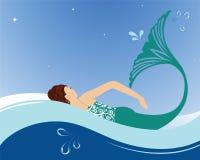 Mermaid swimming stock illustration
