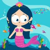 Mermaid swimming in the sea vector illustration