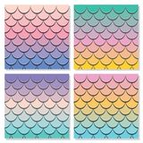 Mermaid tail pattern set. Paper cut out 3d fish skin background. Pastel spectrum colors. Vector vector illustration