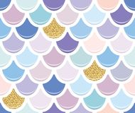 Mermaid tail seamless pattern with gold glitter elements. Colorful fish skin background. Trendy pastel pink and purple. Colors. For print and web. Vector Royalty Free Stock Photography