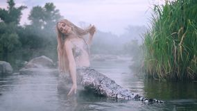 Mermaid with a tail is sitting on the rocks and stroking the water in the mist. A real mysterious mermaid with a silvery tail and a wreath of sea plants on her stock video footage