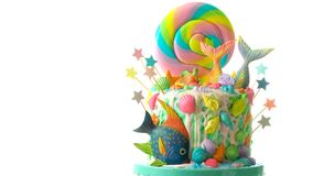 Mermaid theme candyland cake with glitter tails, shells and sea creatures. Mermaid theme candyland cake with colorful glitter tails, shells and sea creatures royalty free stock photography