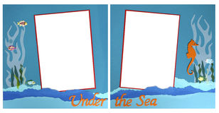 Mermaid Theme Scrapbook Frame Template Royalty Free Stock Images