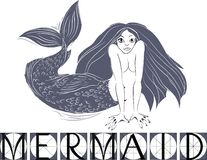 Mermaid with title Stock Image