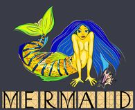 Mermaid with title Royalty Free Stock Image