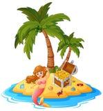 Mermaid in treasure island Royalty Free Stock Photos